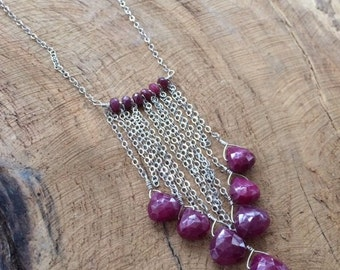 Genuine Ruby Necklace | Sterling Silver Chain | Bohemian | Gemstone | Root Chakra