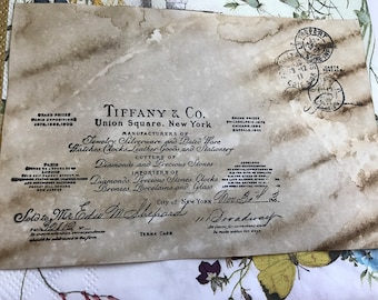 6 Tiffany & Co stamp collage - Coffee stained ephemera index cards.