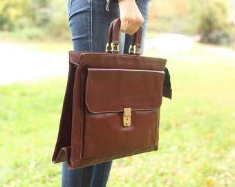 Vintage Business leather bag bown