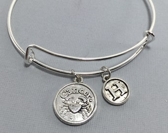 Cancer Zodiac Jewelry - Cancer Astrology Jewelry - Cancer - Cancer Bracelet- Cancer Bangle - Zodiac Jewelry - Mothers Day  - Charm bangle