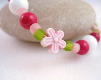 Pink and Green Girls Flower Bracelet, Large Girls Stretch Bracelet, GBL 103