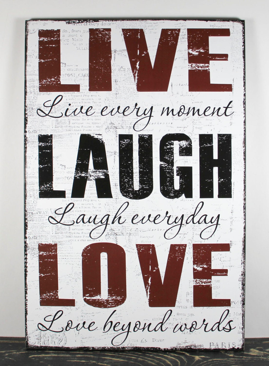 Black White Red Live Every Moment Laugh Everyday Love Beyond Words 12x18 Primitive Wood Sign Home Wall Decor Wedding Gift