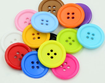 50 pcs Round Plastic Buttons,Small Plastic Buttons,Buttons For Child,25mm*25mm(143-4)