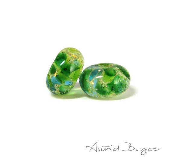Greenery Sparkle Spacer Beads Artisan Lampwork Beads Bead Pair -Free USA Shipping-Pantone Greenery-Pantone 2017 Color of the Year