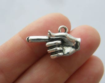 4 Hand gesture Index finger pointing charms antique silver tone FM27