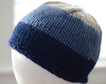 Blue and Gray Striped Hat