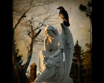 Stone Angel, Art, Gothic angel and raven, professional image - On a wing -  Original Corvid photography