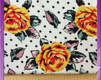 """100% Rayon challis Retro deisgn floral print 58"""" / 60"""" wide fabric sold by the yard"""