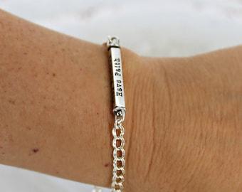 Personalized swivel bar bracelet • Custom name mother bracelet • Swivel four sided bar • Name bracelet • Silver personalized swivel bar