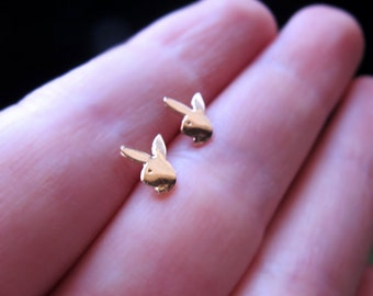 Playboy Stud Earrings. Gold Rabbit Studs. Fashion Hare Earrings in 14k Gold Filled. Tiny Bunny Earrings. Minimalist Earrings.Rabbit Earrings