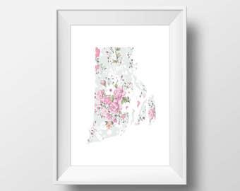 Rhode Island State Floral Printable Art, Rhode Island State Print, Rhode Island Art, Modern Art, Floral Print