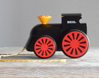 Vintage Wooden Pull Along Engine Toy by Brio Black Wood Train
