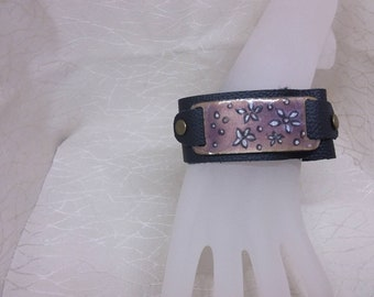 Enamel and Leather Cuff