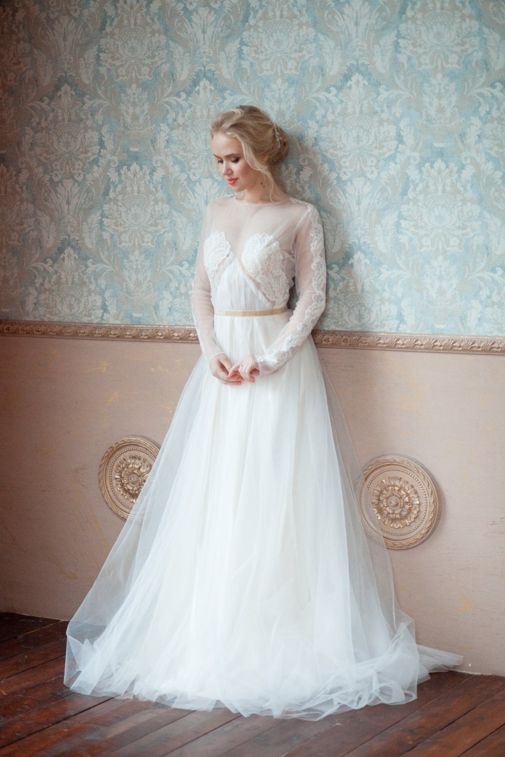 Asti creative wedding dress boned with sleeves for Have wedding dress made
