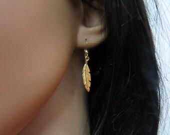 Gold feather earrings long dangle earrings, Gold dainty earrings, Gold feather jewelry