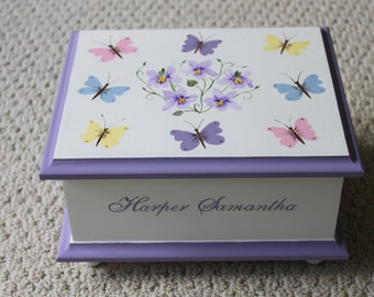 Baby Keepsake box Butterfly & Violets Baby Memory Box personalized baby girl gift hand painted