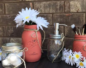 mason jar bathroom, mason jar soap pump, rustic bathroom, bath and beauty, farmhouse decor, rustic storage, bath decor, mason jar