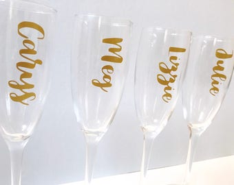Personalised champagne flutes   Wedding glasses   Bridesmaids glasses