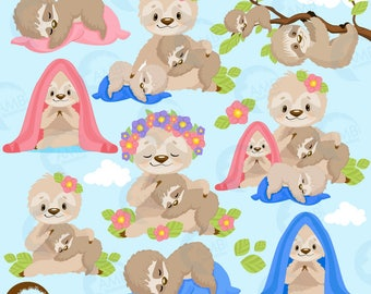 Sleepy sloth clipart, sloth family, sloth babies clipart, sloth mama and babies for scrapbooking, Cupcake Toppers, Paper Crafts, AMB-2201