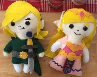 Link and Zelda Felt Dolls