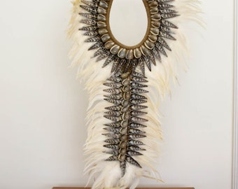 Poppy necklace large white feather