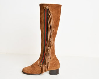 Vintage 60s Tall GoGo BOOTS / 1960s Brown Suede Leather Fringe Knee High Boots, 5 Narrow
