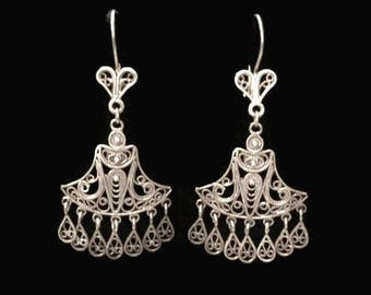 RESERVED FOR PATRICIA Sterling Silver Filigree Boho Chandelier Earrings, Made in Turkey