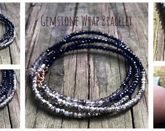 Stürmische Himmel - Wrap Armband, schwarz Rutil, Spinell, schwarzen Pyrit, Pyrit, Silber beschichtet, Pyrit und Rose Gold Verschluss