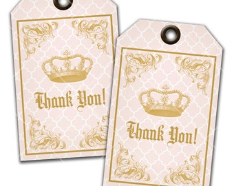 Princess Party Thank You Tags, Favor Tags, Gift Tags, Instant Download, Print Your Own