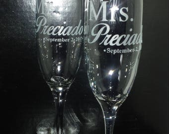 Bride and Groom Custom Etched Wedding Toasting Flutes