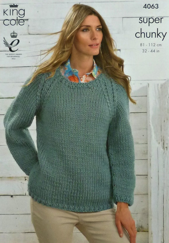 Womens Knitting Pattern K4063 Ladies Long Sleeve Scoop Neck Easy