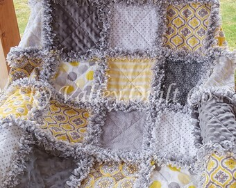 Pre Cut Rag Quilt KIT -  SUMMER RAIN ~ yellow and gray cottons
