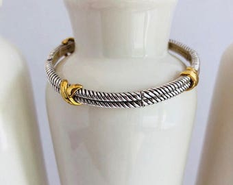 Womens Silver & Gold Bangle Bracelet