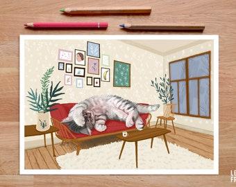 Cat Illustration, Funny Cat Art, Cat Gifts, Cat Print, Sleeping Cat, Cat Wall Art, Cat Drawing, Cat Artwork, Cat Lover, Cat Lady, Kitten Art