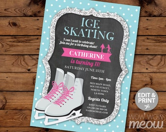 Ice Skating Invitation Birthday Party INSTANT DOWNLOAD Silver Glitter Invite Girls Any Age Personalise Skate Customize Editable Printable