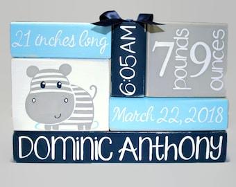 Hippopotamous Nursery Baby Birth Stat Navy Blue Gray WoodenBlock Shelf Sitter Stack New Baby New Mom Gift Custom Nursery