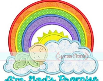 Rainbow Baby GODS PROMISE Applique 4x4 5x7 6x10 7x11 Machine Embroidery Design File INSTANT Download