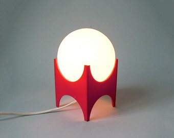 Reserved for Sarah Vintage red white desk lamp panton style white glass balloon on a red plastic base table lamp bedside lamp atomic age