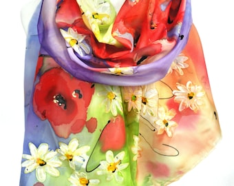 Hand Painted Scarf. Art to wear. Gift idea for her. Anniversary Birthday Gift. Silk Painting. Daisies Poppies Scarf. 18x71in. MADEtoORDER