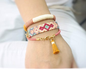 Layering Bracelet, Pink Bracelet Stack Gift, Gift for Daughter, Hippie Bracelet Gift, Gift for Sister, Gift for Wife, Gift for Girlfriend