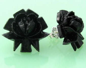 Vintage Black Rose Button Post Earrings