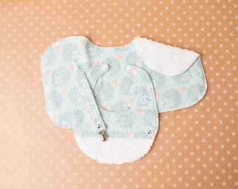 Hedgehogs Blue Pink Hearts Baby gift set Newborn Bib Burp cloth Paciclip Little Tommys Flannel Chenille Baby girl Baby boy Gender neutral