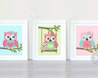 Owl Nursery Decor Owl Print wall art ,Set of three 8 x 10 Girls Room Decor Woodland Owl Nursery Art , Owl will Always Love you