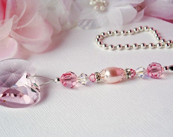 Pink Ceiling Fan Pull Chain, Little Girls Room, Nursery Decor, Swarovski Crystal Light Pulls, Baby Shower Gift