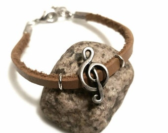 SALE Treble Clef Jewelry Leather Bracelet Teen Tween Girl Gift Musician Gift Trending Jewelry Popular Items Music Gift FLASH Sale Jewelry