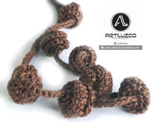 Brown Irisbo, Crochet necklace, Necklace in natural fibers, Handmade knitted necklace