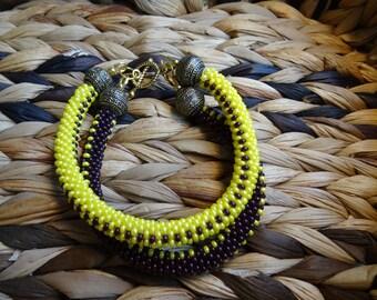Handmade crocheted beaded bracelet, made from Czech glass seed beads