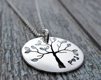 Family Tree Initial Necklace in Sterling Silver - Hand Pierced Design w/ Leaves & Initials by Eclectic Wendy Designs