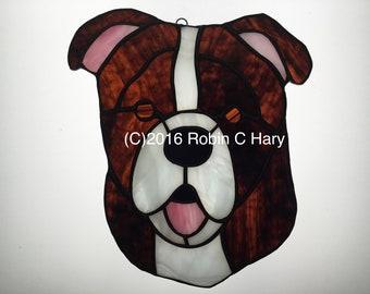 Bulldog Suncatcher in Stained Glass