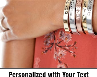 Personalized Hand Stamped Jewelry - Mantra Bracelet - Custom Bracelet - Personalize Engraved Cuff - Expressions Bracelets Mantras